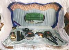 Art Deco Vanity Set Celluloid Oriental Black Red Gold in Presentation Box Vintag