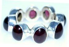 GARNET Rings Full Eternity Sterling SILVER Ring Natural Gem 925 Size XS, S, M, L