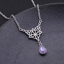 Knot Teardrop Waterdrop Birthstone Necklace Ancient Nordic Viking Trinity Irish