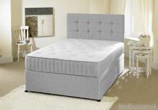 GREY FABRIC DIVAN BED SET + MEMORY MATTRESS + HEADBOARD 3FT 4FT 4FT6 Double 5 FT