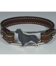 Bracciale in argento con sagoma di cane razza Golden Retriever e cinturino