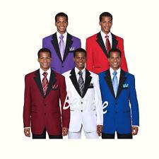 Men's 2 Button Poplin Dacron Two Tone Color Solid Fashion Suit 7022
