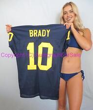 Tom Brady Michigan Wolverines stitched #10 blue game cut football jersey NEW
