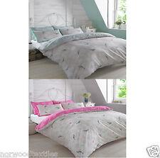 Vintage Birds Floral Reversible Duvet Cover/Quilt Cover Set Bedding Mint/Pink