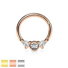 Piercing de Nariz - Pendiente septum Anillo 3 Colgante Circonia Cristal #359