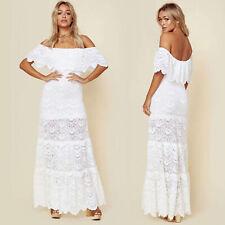 Womens Summer Ruffles Off Shoulder Full Lace Boho Long Maxi Dress Beach Sundress