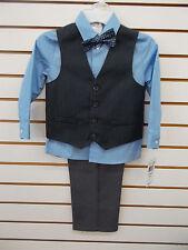 Boys Van Heusen $50 4pc Charcoal & Light Blue Vest Suit Size 4 - 7