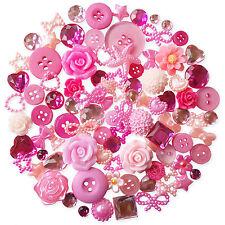 50pcs Rosa Abbellimenti Perle Gemme Cabochon Bottoni Scrapbooking Craft