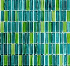 Glasmosaik Stäbchen strichgrün Schwimmbad Pool Sauna WC | 77-0508_f | 10 Matten