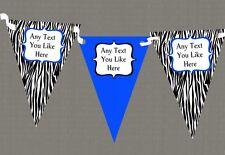 Zebra Print & Royal Blue Personalised Birthday Party Bunting