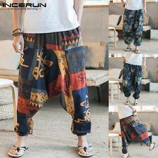 Mens Plus Baggy Boho Printed Floral Harem Pants Loose Hippy Yoga Thai Trousers