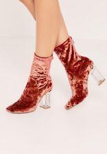 Miss Guided Blush Velvet Perspex Heeled Sock Boot Rust / Burgundy New & Boxed