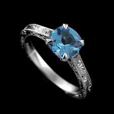 Platinum Hand Engraved Vintage Style Cushion Shape Blue Topaz Engagement Ring