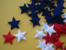 90 Padded Red Navy White Patriotic USA Star Felt/Satin Applique/JULY 4/Trim H114