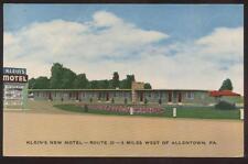 Postcard ALLENTOWN,Pennsylvania/PA  Klein's New Motel view 1950's