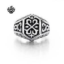 Silver bikies ring  fleur-de-lis black solid heavy stainless steel band