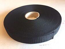 "1 Inch Width Polypropylene Webbing: Heavy Weight - Black 1"" Strap"