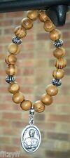 In Car Wooden Beads & Don Bosco Pendant Saint St John Bosco Religious Holy Charm