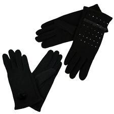 Ladies Womens Warm Cotton Gloves Diamante Bow Faux Fur Winter Hand Warmers