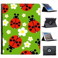 Tiny Red Spotted Ladybugs White Daisy Folio Leather Case For iPad 2, 3 & 4