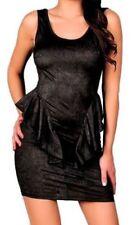 Sexy Black Minimalist Open Back Peplum Party Dress New Lady GAGA Glam Costume