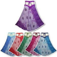 New Boho Hippie Crochet Waist Floral Print Crinkle Rayon Long Skirt  N2019X