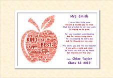 Thank You Teacher Gifts APPLE Personalised Poem Best Teacher Leaving Present