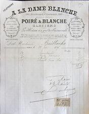 FACTURE, GLACIERS, A LA DAME BLANCHE, POIRE ET BLANCHE, BD ST GERMAIN, 1897