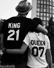 T-SHIRT UOMO DONNA KING QUEEN NUMERO PERSONALIZZATO San Valentino Matrimonio