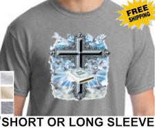 Christian Bible Cross Doves Jesus Mens Religious Short Or Long Sleeve T Shirt