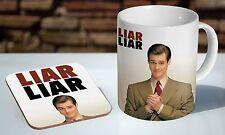 Jim Carey Liar Liar Tea / Coffee Mug Coaster Gift Set