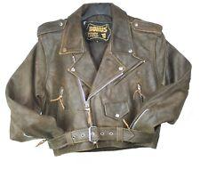 Women Sexy Crop Genuine Brown Distress Leather Half Belt Motorcycle Biker Jacket