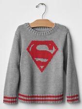NWT BABY GAP BOY'S FOG GRAY JUNK FOOD INTARSIA SUPERMAN SUPERHERO SWEATER
