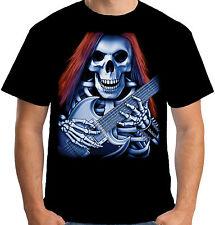 Velocitee da Uomo Skeleton Chitarrista Maglietta Musica Rock Heavy Metal Goth S3701