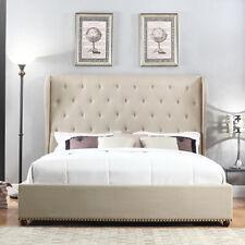 Paris Bedframe Bentwood Slats Wing Upholstered High Tufted Headboard QUEEN