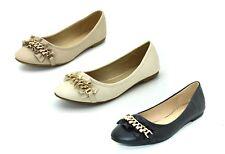 Scarpe basse donna ballerine a punta ballerina con catene e strass scarpa bassa