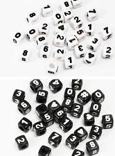 Zahlenperlen Würfel 0-9 mix Herz # Kunststoff Perlen weiß Zahlen Perle, P-81