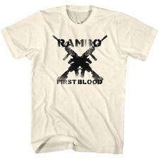 JOHN RAMBO T-SHIRT Mens New Sizes SM - 5XL GUNS Natural Color 100% Cotton Movie