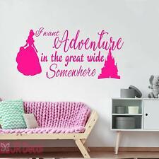 Princess Belle Adventure Quote, Girls bedroom wall decal, Nursery room decor