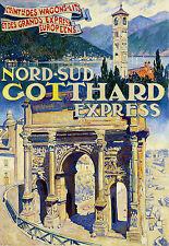 Affiche chemin de fer Cie Wagons Litd - Nord-Sud Gothard Express