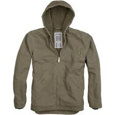 Surplus Stonesbury Army Warm Mens Cotton Jacket Hooded Vintage Zip Coat Olive