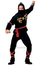 Adult NINJA BLACK SNAKE Assassin Fancy Dress Costume Martial Arts Mens Black