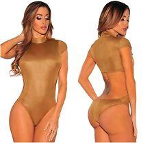 Ladies Antique Brass Wet Look Cutout Mock Neck Bodysuit Leotard Teddy 8-10-12