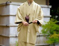 Japanese Mens Kimono HAORI Jacket Coat Set Yellow Washable Japan with Tracking