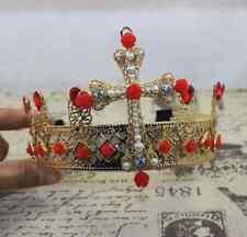 Queen Headband Royal Cosplay Baroque Wedding Luxury Big Pearl Flower Gem Crown