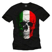 Italien T-Shirt Herren Skull TOTENKOPF Flagge Fußball Trikot Rockabilly Biker