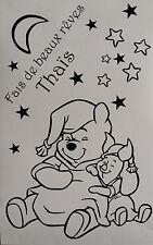 Sticker Winnie l'ourson + porcinet fait de beaux rêves avec prénom personnalisé