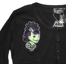 BLACK & Green Steampunk ingranaggi Girl Ricamato Cardigan psychobilly S M a Maglia