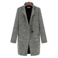Women Lapel Wool Cashmere Coat Trench Jacket Gray Long Parka Overcoat Outwear