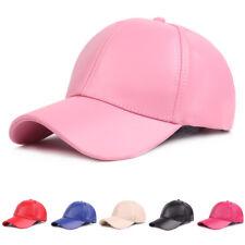 Unisex Männer Frauen Classic Solid Color Baseball Hut einstellbar PU Leder Golf ...